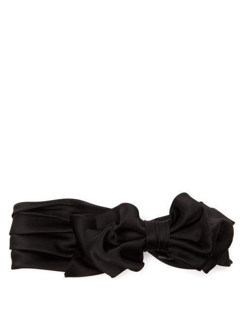 Matchesfashion.com Maison Michel - Betty Bow Silk Blend Satin Headband - Womens - Black