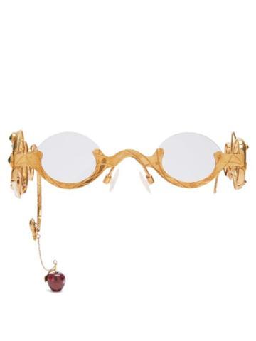 Matchesfashion.com Francis De Lara - Eve Emerald & Diamond Gold Plated Glasses - Womens - Gold