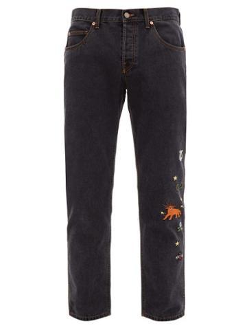 Matchesfashion.com Gucci - Embroidered Straight Leg Jeans - Mens - Black