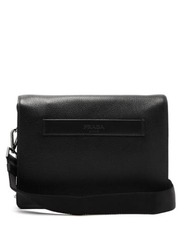 Prada Logo-embossed Leather Messenger Bag