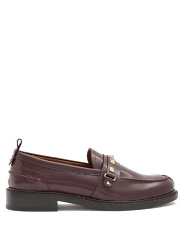 Matchesfashion.com Valentino Garavani - Rockstud Patent-leather Loafers - Womens - Burgundy