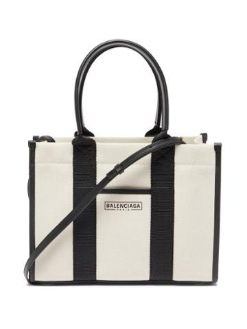 Balenciaga - Neo Navy S Leather-trimmed Canvas Tote Bag - Womens - Black Cream