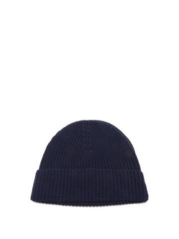 Matchesfashion.com Ami - Ribbed Cotton Beanie Hat - Mens - Navy