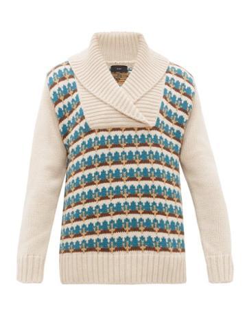 Matchesfashion.com Alanui - Cactus Fair Isle Wool Sweater - Mens - White Multi
