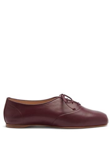 Matchesfashion.com Gabriela Hearst - Maya Square-toe Nappa-leather Oxford Shoes - Womens - Burgundy