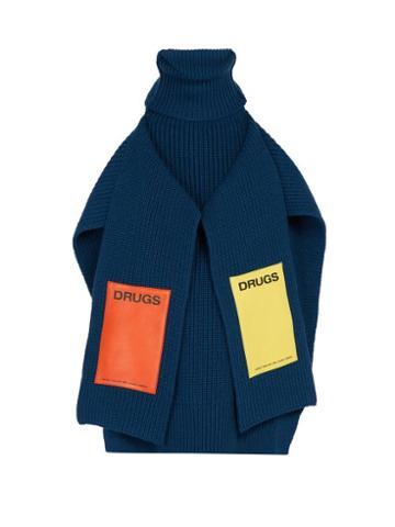 Matchesfashion.com Raf Simons - Sweater Inspired Appliqu Patch Wool Scarf - Mens - Blue