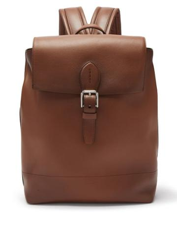 Mens Bags Ralph Lauren Purple Label - Voyager Burnished-leather Backpack - Mens - Brown