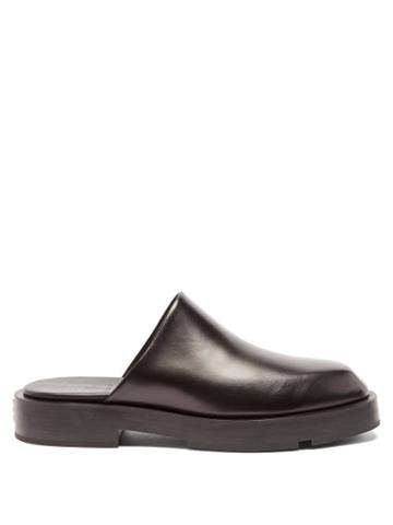 Mens Shoes Givenchy - Gg-plaque Leather Mules - Mens - Black