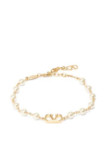 Valentino Garavani - V-logo Faux-pearl Bracelet - Womens - Pearl