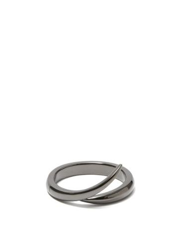 Matchesfashion.com Shaun Leane - Interlocking Rhodium-plated 18kt White Gold Ring - Mens - Black Silver