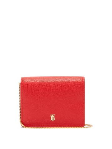 Matchesfashion.com Burberry - Chain-strap Pebbled-leather Wallet - Womens - Red