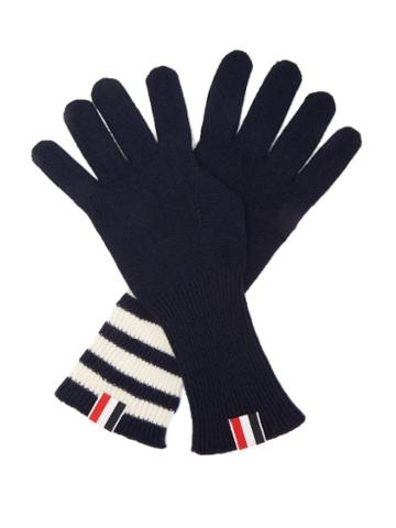 Matchesfashion.com Thom Browne - Tri-colour Striped-cuff Gloves - Mens - Navy