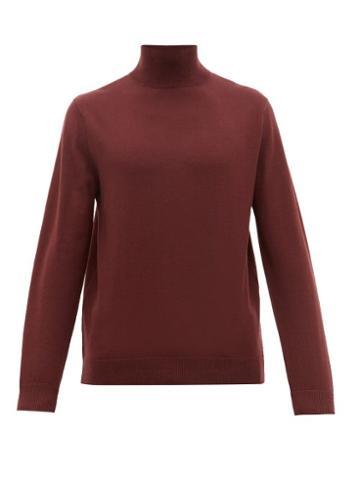 Matchesfashion.com A.p.c. - Glen Roll Neck Merino Wool Sweater - Mens - Burgundy