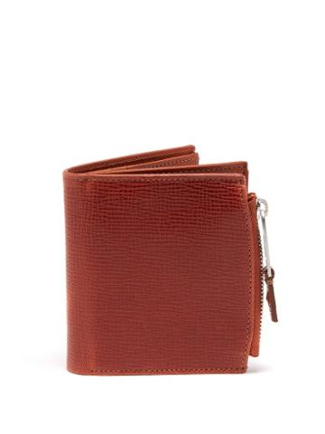 Matchesfashion.com Maison Margiela - Label Tab Grained Leather Bi Fold Wallet - Mens - Brown