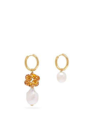Matchesfashion.com Timeless Pearly - Mismatched Crystal & Pearl Hoop Earrings - Womens - Crystal