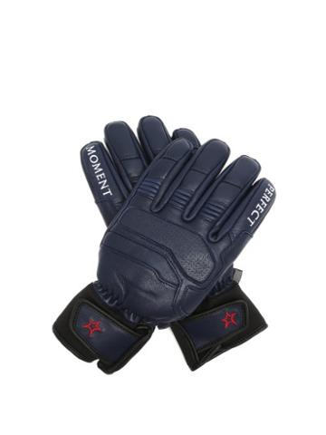 Matchesfashion.com Perfect Moment - Logo-embroidered Leather Ski Gloves - Womens - Navy