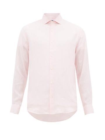 Matchesfashion.com Frescobol Carioca - Slubbed Linen Poplin Shirt - Mens - Pink