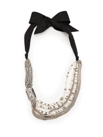 Lanvin Bow And Faux-pearl Embellished Necklace