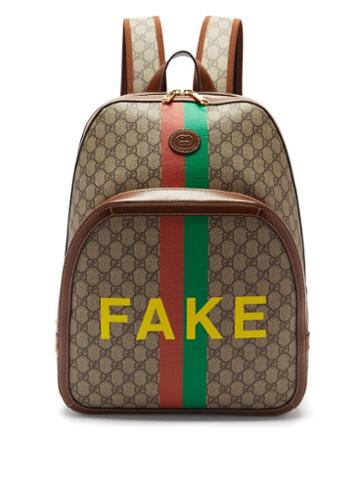 Matchesfashion.com Gucci - Fake/not Logo-print Gg Supreme Backpack - Mens - Brown Multi