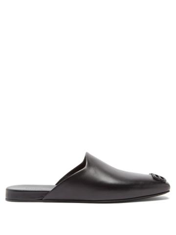 Balenciaga - Cosy Bb-plaque Leather Backless Loafers - Mens - Black