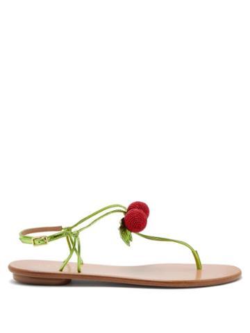 Matchesfashion.com Aquazzura - Manzanita Beaded Leather Sandals - Womens - Green Multi
