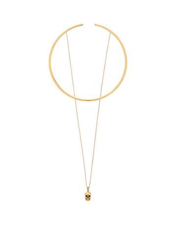 Matchesfashion.com Alexander Mcqueen - Skull-charm Choker - Womens - Gold