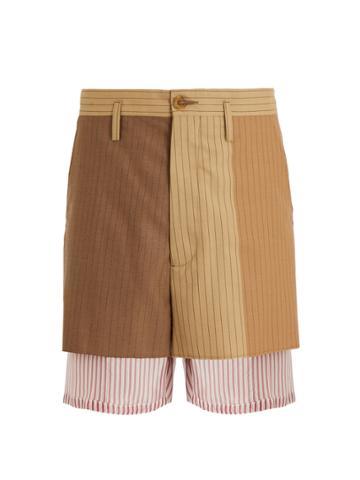 Marni Pinstriped Layered Wool Shorts