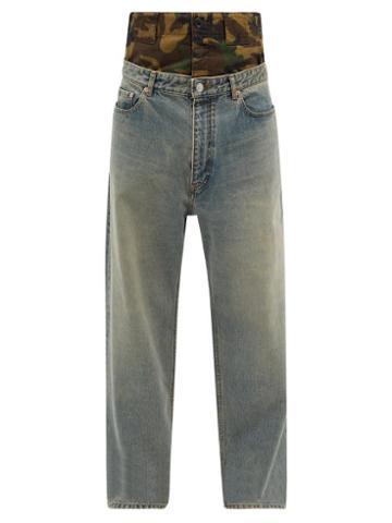 Balenciaga - Layered Camouflage-panel Jeans - Mens - Grey