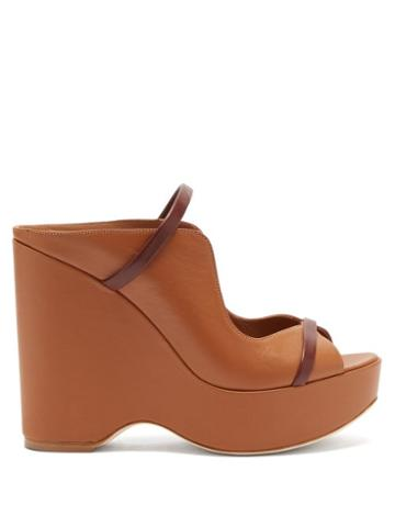 Matchesfashion.com Malone Souliers - Norah Leather Wedges - Womens - Tan