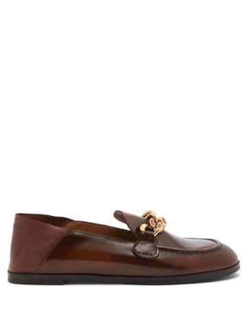 See By Chlo - Mahe Collapsible-heel Leather Loafers - Womens - Brown