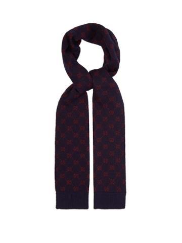 Matchesfashion.com Gucci - Gg Wool Scarf - Mens - Navy