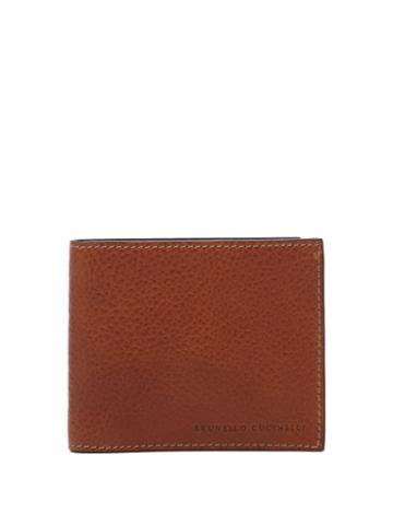 Matchesfashion.com Brunello Cucinelli - Stamped-logo Leather Bi-fold Wallet - Mens - Brown