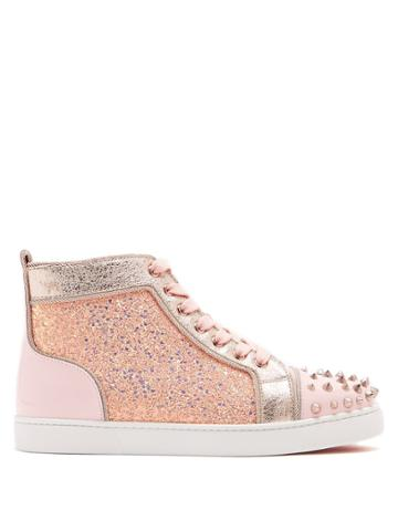 Christian Louboutin Lou Degra Embellished Leather High-top Trainers