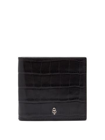 Matchesfashion.com Alexander Mcqueen - Skull Croc-embossed Leather Bifold Wallet - Mens - Black