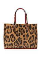 Matchesfashion.com Christian Louboutin - Cabata Leopard Print Grained Leather Tote - Womens - Leopard