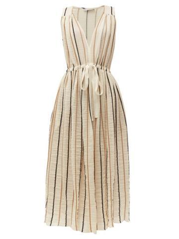 Matchesfashion.com Three Graces London - Solaine Striped Cotton Blend Midi Dress - Womens - Cream Stripe