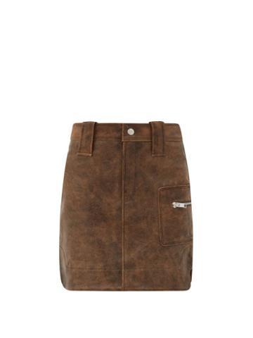 Matchesfashion.com Ganni - High-rise Leather Skirt - Womens - Brown