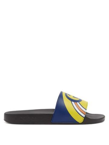 Matchesfashion.com Gucci - Pursuit Logo Print Slides - Mens - Blue Multi