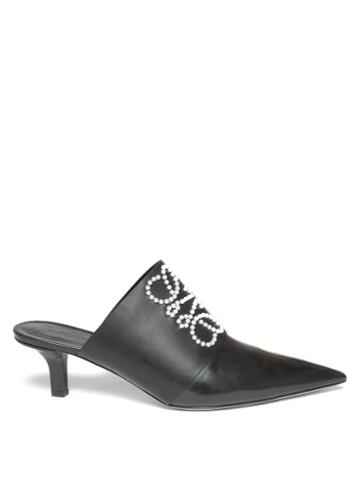 Matchesfashion.com Loewe - Point-toe Pearl-anagram Leather Mules - Womens - Black