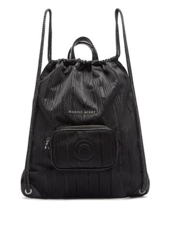 Matchesfashion.com Marine Serre - Leather-trimmed Moir Drawstring Backpack - Womens - Black