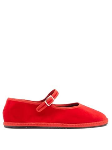 Matchesfashion.com Vibi Venezia - Mary-jane Velvet Furlane Flats - Womens - Red