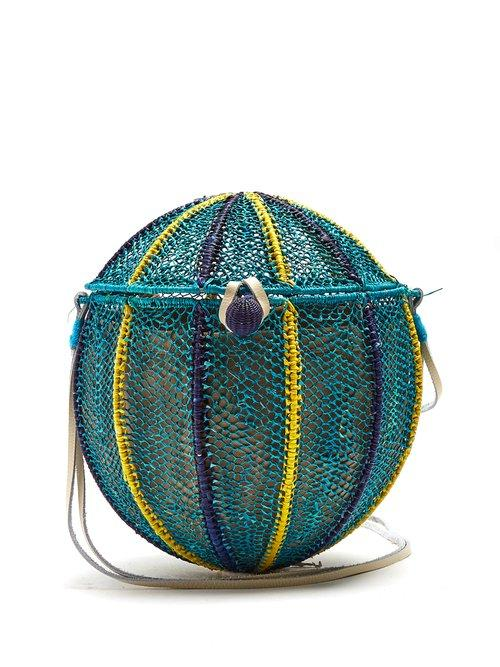 Matchesfashion.com Sophie Anderson - Meylin Woven Toquilla Cross Body Bag - Womens - Blue Multi