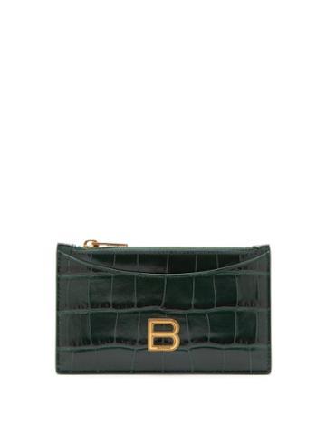 Balenciaga - Hourglass Zipped Croc-effect Leather Cardholder - Womens - Dark Green