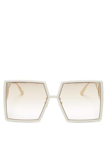 Matchesfashion.com Dior - 30montaigne Square Acetate And Metal Sunglasses - Womens - White Gold