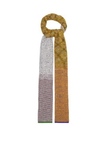 Matchesfashion.com Missoni - Colour-block Rib-knitted Scarf - Womens - Green Multi