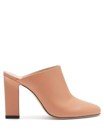 Matchesfashion.com Wandler - Casta Block-heel Leather Mules - Womens - Pink