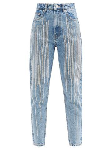 Matchesfashion.com Germanier - Upcycled Swarovski-crystal Cropped High-rise Jeans - Womens - Denim