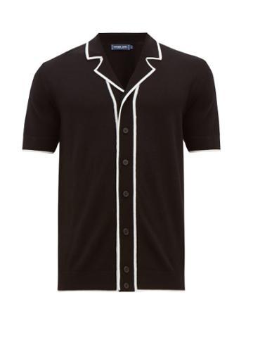 Matchesfashion.com Frescobol Carioca - Tipped Camp Collar Merino Wool Shirt - Mens - Black