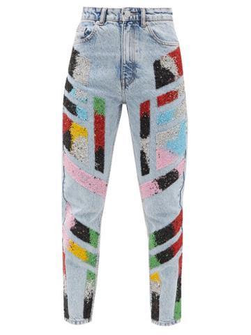 Matchesfashion.com Germanier - Killing Eve Bead-embellished High-rise Jeans - Womens - Denim Multi
