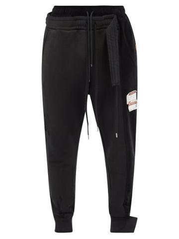 Mihara Yasuhiro - Combined Cotton-blend Jersey Track Pants - Mens - Black